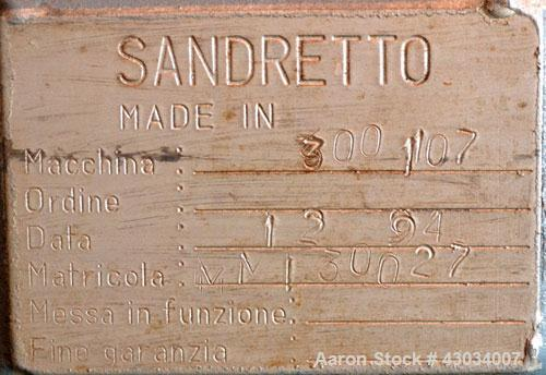 "Used- Sandretto Micro30 30 Ton Hydraulic Horizontal Injection Mold Machine, Model 300/107. Approximate 1-3/4"" diameter tie b..."