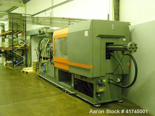 Used-Sandretto Injection Molding Machine, Series Sette 350 T Series 7. Pressure on clamp 15 tons. Complete with a control pa...