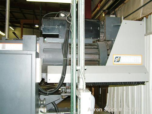 "USED: Sandretto 610 ton, 138 oz, model TEW-610 plastic molding machine2001. Platen size 53"" x 48""; distance between tie bars..."