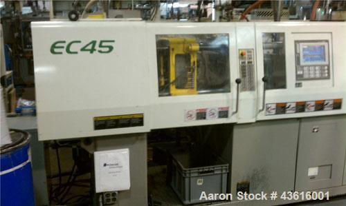 Used-Toshiba Electric Injection Molding Machine, Model EC45-1A.  45 tons, shot size 1.59 oz, electric clamp, tie bar dist (H...