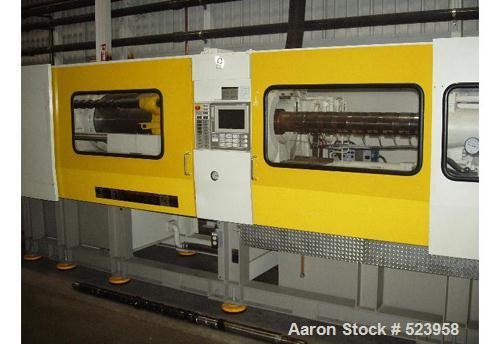 "USED: Toshiba 390 ton, model ISGS390V10-27B, injection molding machine, 63 oz. Manufactured 2002. Tie bar spacing 28.7"" x 28..."