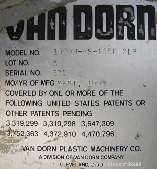 "USED: Van Dorn 1000 ton hydraulic injection molding machine, model 1000H-RS-165FXLP. Platen size approximately 65"" x 65"". Di..."