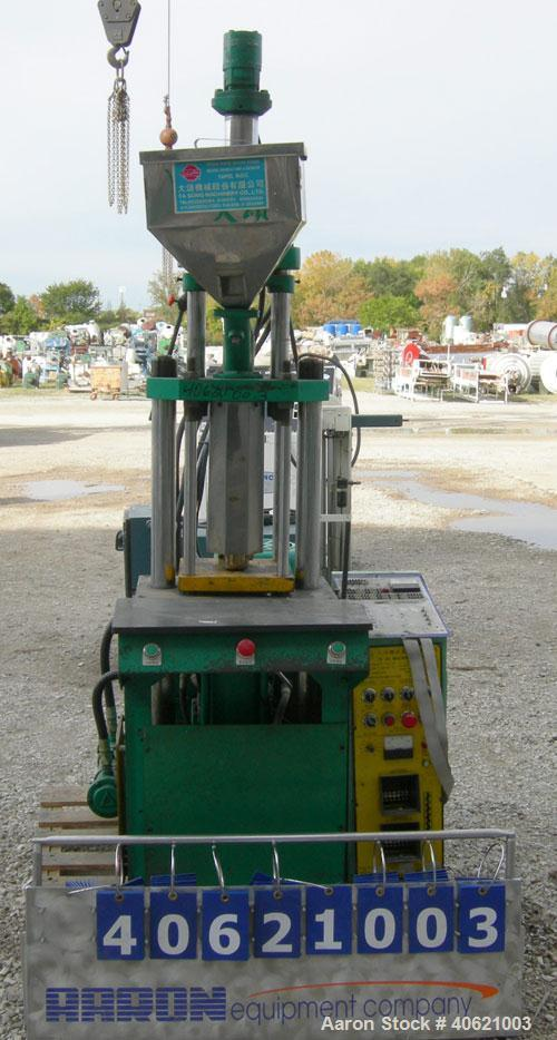 """Used- Ta So Machinery Vertical Injection Molder. (2) 2 1/2"""" diameter tie bars. Top platen 10 3/4"""" x 10 3/4"""". Driven by a 5 h..."""
