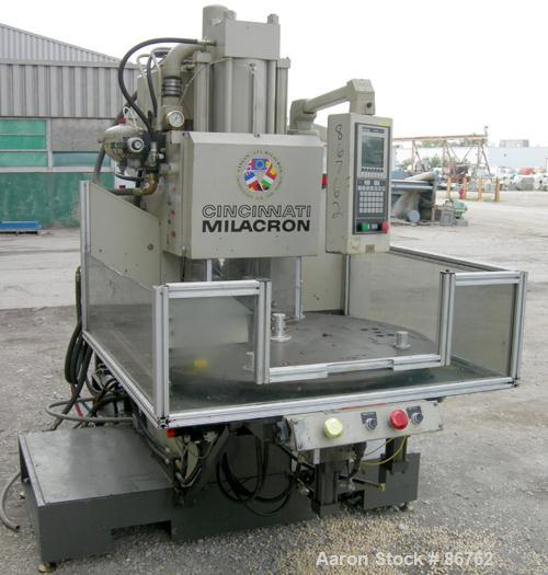 USED- Cincinnati Milacron 70 Ton Vertical Rotary Insert Injection Molding Machine, Model Vector CH-70-R. Platen size approxi...