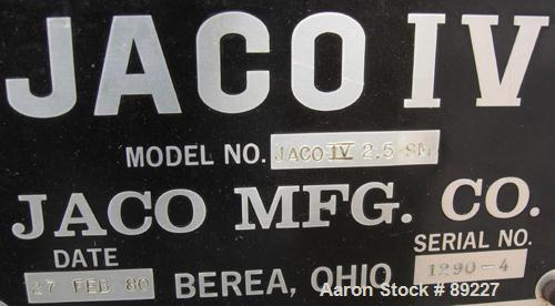 USED: Jaco vertical injection molder, model IV2.5SM. Approximate 2.5 ton capacity. Built 1980.