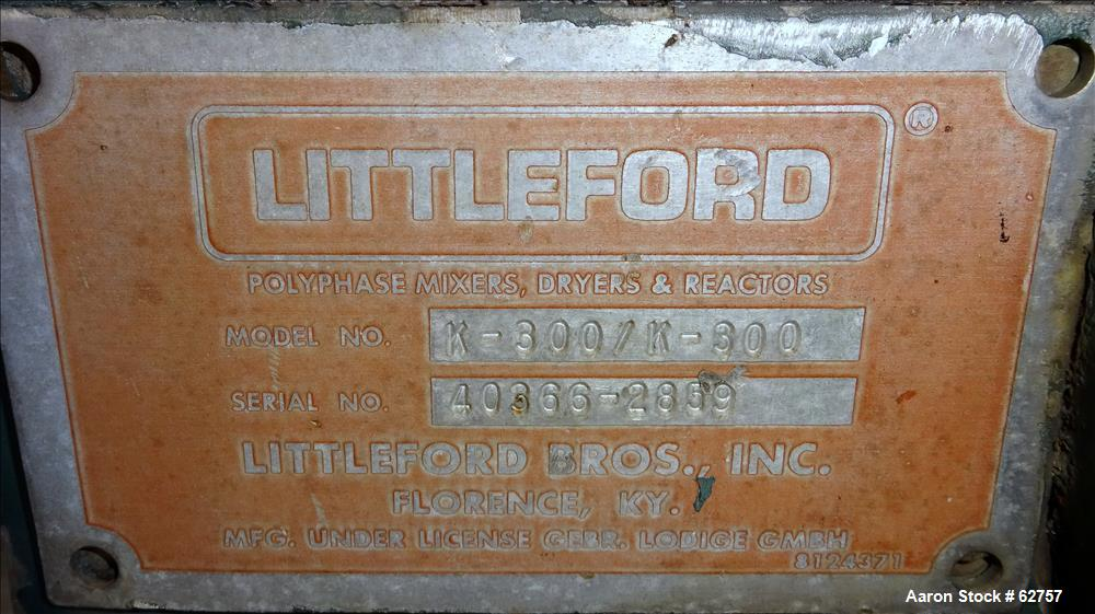 Used- Stainless Steel Littleford Batch Type Mixer/Cooler, Model K-300, 6 Cubic F