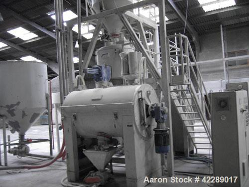 Unused-Papenmeier TSHK 750/HKB 1500 mixer/cooler combo used for u-PVC. Output 2645.5 lbs/h (1200 kg/h), capacity heating mix...
