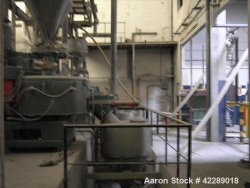 Used-Papenmeier TSHK 750/KGU 1500 Mixer/Cooler Combo used for u-PVC. Output 2645.5 lbs/h (1200 kg/h), capacity heating mixer...