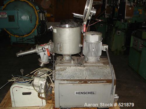 """USED: Thyssen Henschel Kassel mixer, type FM40, year 1996. 40 liter,200 deg C, 5 bar, approx 15"""" diameter x 15"""" deep, 10 hp ..."""