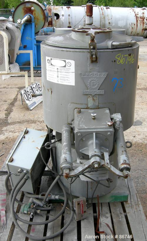 USED: Prodex Henschel High Intensity Mixer, approximate 150 liter, 5 cubic feet, 316 stainless steel. Carbon steel jacketed ...