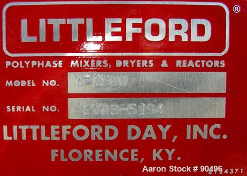 Used- Littleford High Intensity Mixer, Model W-1500, 32 Cubic Feet Working Volume (51 Total), 304 Stainless Steel. 47-1/2'' ...