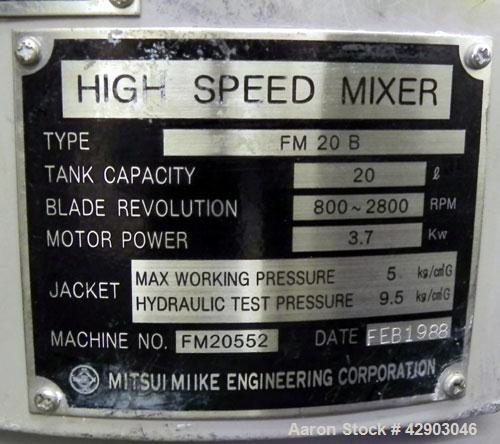 Used- Stainless Steel Mitsui Mike High Intensity Mixer, Model FM20B