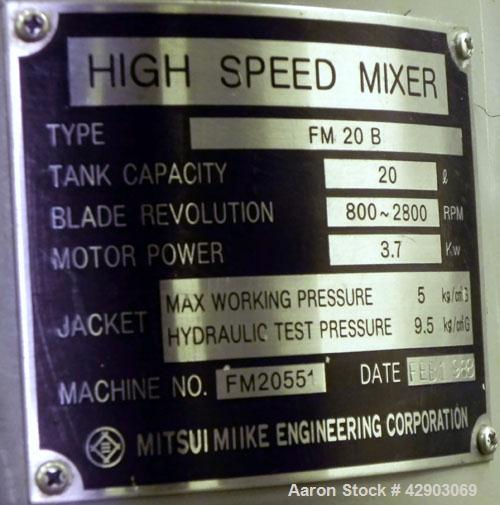 """Used- Mitsui Mike High Intensity Mixer, Model FM20B, 20 Liter (0.70 Cubic Feet), 304 Stainless Steel. Jacketed bowl 11-3/4"""" ..."""