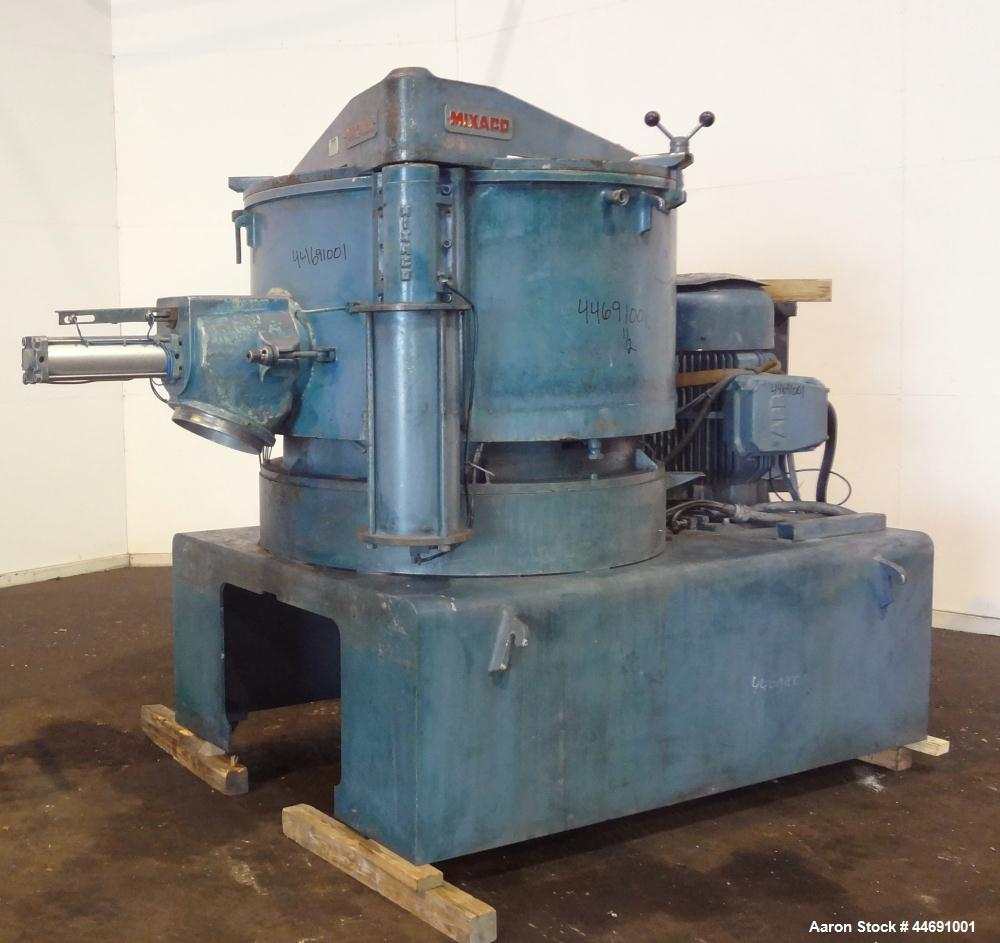 Used- Mixaco Maschinenbau High Intensity Mixer, Type M1000WA-D. 304 Stainless steel contact areas. Working capacity 800 lite...