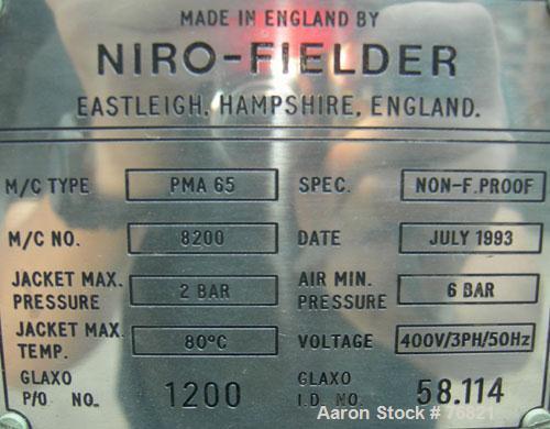 Used- Stainless Steel GEA Niro Pharma Matrix PMA 65 Mixer/Granulator For Powders