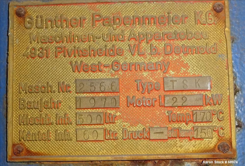 Used- Papenmeier High Intensity Mixer, Type TSK500
