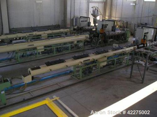 Used-Bandera Pipe Extrusion Plant, complete for production of LDPE and HDPE pipes, output 441-551 lbs/h (200-250 kg/h). Comp...