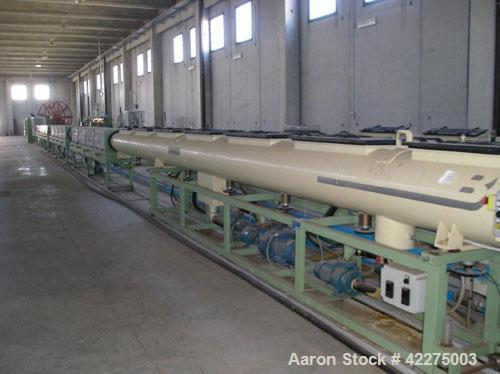 Used-Bandera Extrusion Plant, complete for production of LDPE and HDPE pipes. Capacity 220-330 lbs/h (100-150 kg/h). Bandera...