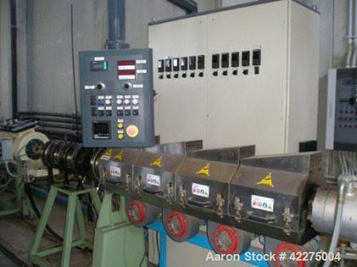 Used-Complete Bandera Pipe Extrusion Plant, suitable for LDPE and HDPE pipes. Output 176-220 lbs/h (80-100 kg/h). Comprised ...