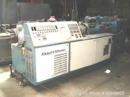 Used- Krauss Maffei 110mm counter rotating twin screw extruder, model KMD-2-110Z, 110 mm screws, counter rotating, 25:1 l/d,...