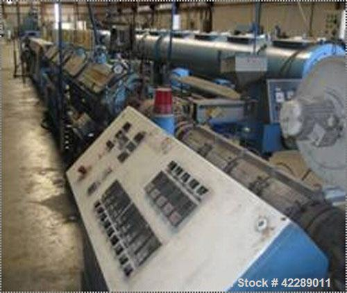 Used-Theyson Pipe Extrusion System consisting of:  (1) Theyson single screw extruder, type AS63, single screw, 63mm, L/D 25,...