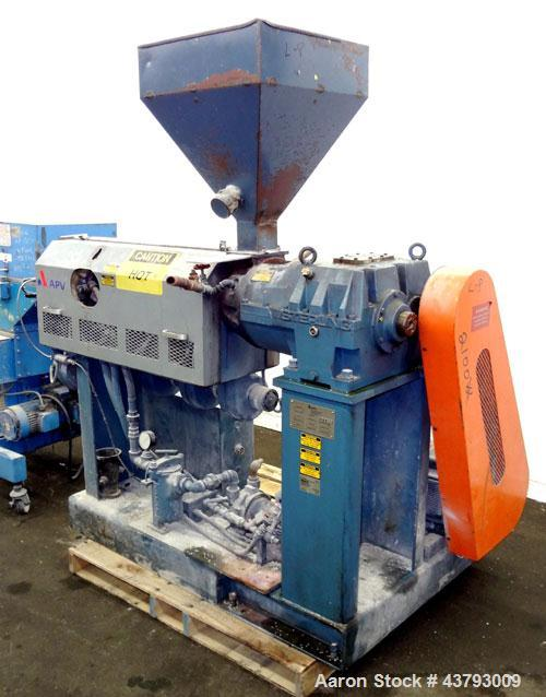 """Used- APV Single Screw Pelletizing Line Consisting Of: (1) APV 1-1/2"""" single screw extruder, 30 to 1 L/D ratio. Electrically..."""