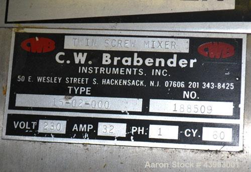 Used- C.W. Brabender Plasti-Corder Extruder System consisting of: (1) Direct current drive unit, model DR-2071, type Polyspe...