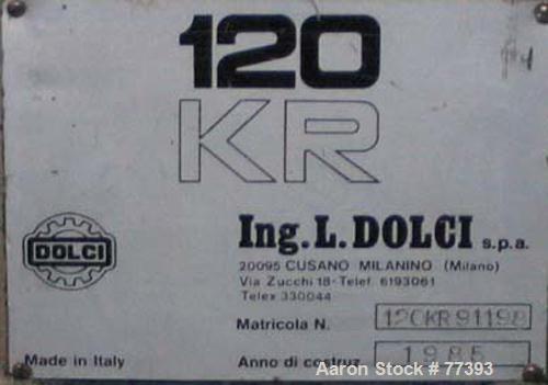 "Used- Dolci single screw extruder, model 120KR, 4.5"" diameter screw x 160"" long, 35:1 L/D ratio, 44"" center line, 5 zone bar..."