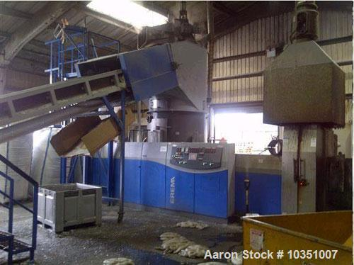 "Used- EREMA Single Screw Pelletizing Line. 960 HP/ 716 kW. Screw diameter 6.3"" (160 mm), output capacity 2204 lbs/h (1000 kg..."