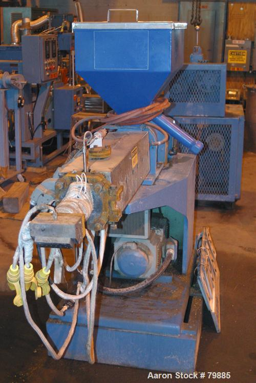 """USED: Killion 1-1/2"""" single screw extruder, 24:1 L/D ratio. Electrically heated, air cooled. (3) zone vented barrel, water c..."""