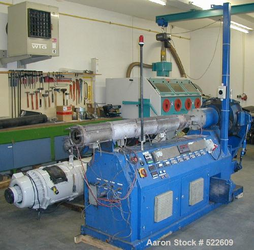 "USED: Achenbach/Krauss Maffei pipe extrusion line for PE pipe up to 2.48"" (max 63mm). (1) Achenbach extruder, type 75/25D, c..."