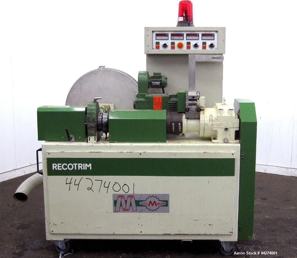 Used- Macchi Recotrim Trim & Film Waste Pelletizing Line, Model ES40. Consisitng of: (1) 35mm Single screw extruder, approxi...