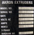 Used- Akron Pelletizing Line Consisting Of: (1) Akron 1-1/2