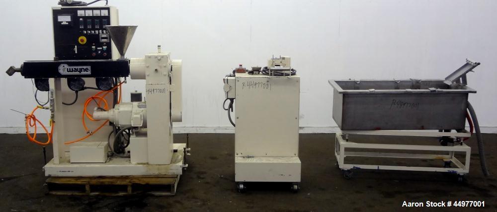 "Used- Wayne Machine Pelletizing Line consisting of:  (1) Wayne Machine 1-1/2"" single screw extruder. Approximately 24 to 1 L..."