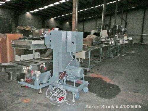 Used-Alphatec AD-S 75.36 ST Twin Screw Compounding Line, maximum throughput 1320 lbs/hour (600 kg/hour).(1) Co-rotating extr...