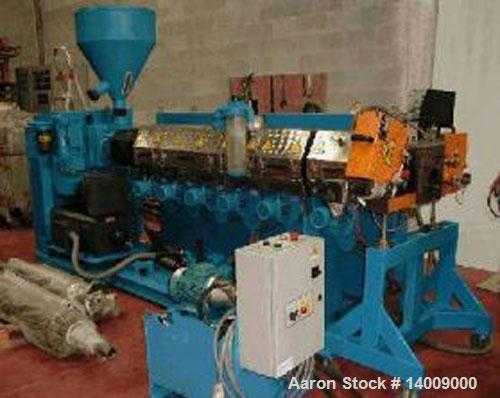 "Used-AMUT HDPE Repelletizing Line consisting of: (1) vented 3"" (80 mm) extruder O.D., single screw 33:1 L/D, 180 hp/135 kW D..."