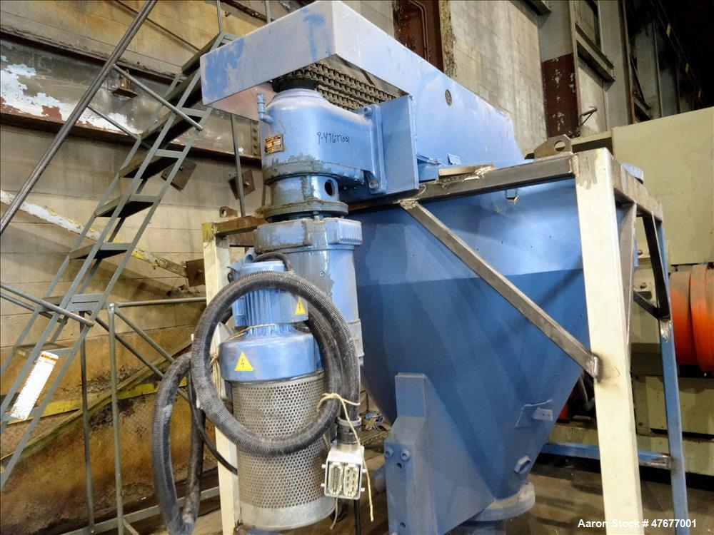 Used- Krauss Maffei K.M. 120 mm Twin Screw Extruder (Reconditioned by Trimec 2012). Approximate 24 to 1 L/D ratio. (12) Zone...