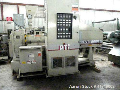 "Used-PTI 3500 Single Screw Extruder. 3.5"" (89 mm), 30 L/D screw, five heating zones electrically heated, air cooled, 125 hp ..."