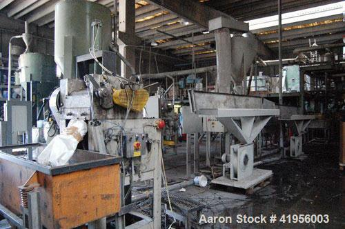 Used-Compounding Plant, capacity 1100-2200 lbs/h (500-1000 kg/h), consisting of (1) Trimec CTS 92 co-rotating twin screw ext...