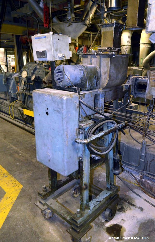 Used- (1) ZSK-83 R240R 83mm Co-Rotating twin screw extruder, approximate 40 to 1 L/D ratio, serial# 218971, works# 507860-86...