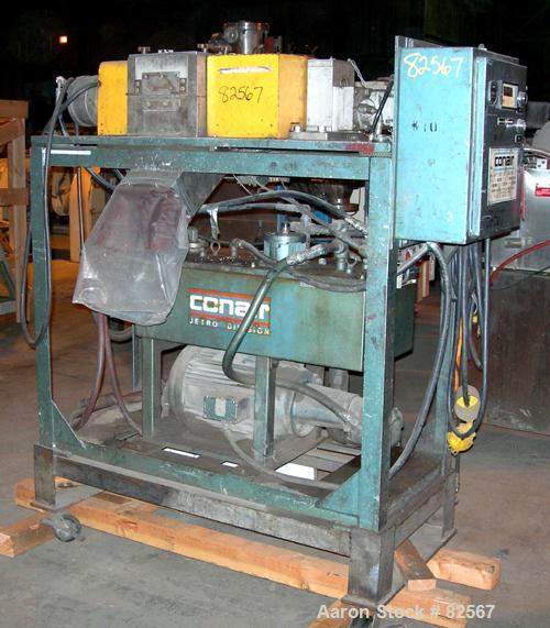 "USED: Conair pelletizer, model 206. Approx 8"" diameter x 6"" wide 32 blade helical rotor. (1) Rubber and (1) metal pull roll...."