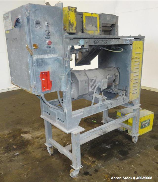 "Used- Conair Jetro Pelletizer, Model 208. Approximate 8"" wide x 6"" diameter 48 blade helical rotor. (1) Rubber, (1) metal pn..."