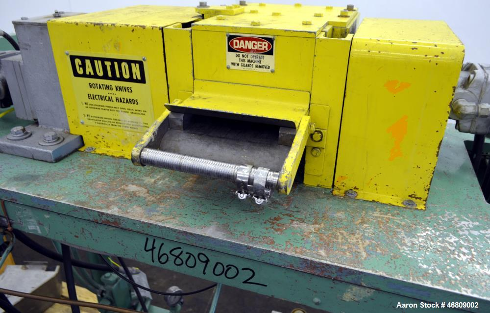 """Used- Conair Jetro Pelletizer, Model 206. Approximate 6-1/2"""" wide X 8"""" diameter (48) blade helical rotor. (1) Rubber, (1) me..."""