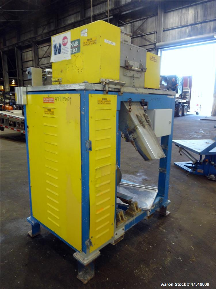 """Used- Conair Jetro Pelletizer. Approximate 12"""" diameter x 8-1/2"""" wide 72 blade helical rotor. (1) Rubber, (1) metal pull rol..."""
