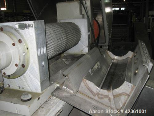 """Used- Cumberland Quietizer Pelletizer, Model 26.26"""" wide 48 blade helical rotor. Air operated feed roll. Driven by a50 hp,..."""