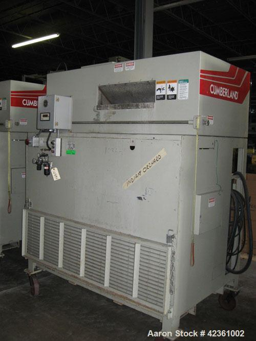 "Used- Cumberland Quietizer Pelletizer, Model 26. 26"" wide 48 blade helical rotor. Air operated feed roll. Driven by a 50 hp,..."