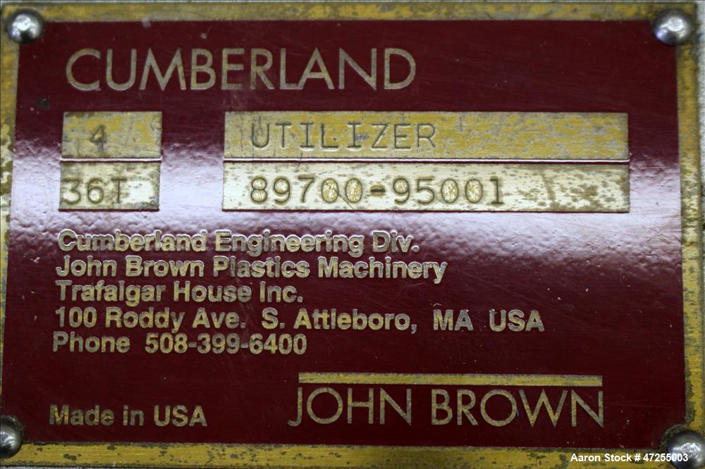 Used- Cumberland 4 Utilizer Pelletizer.