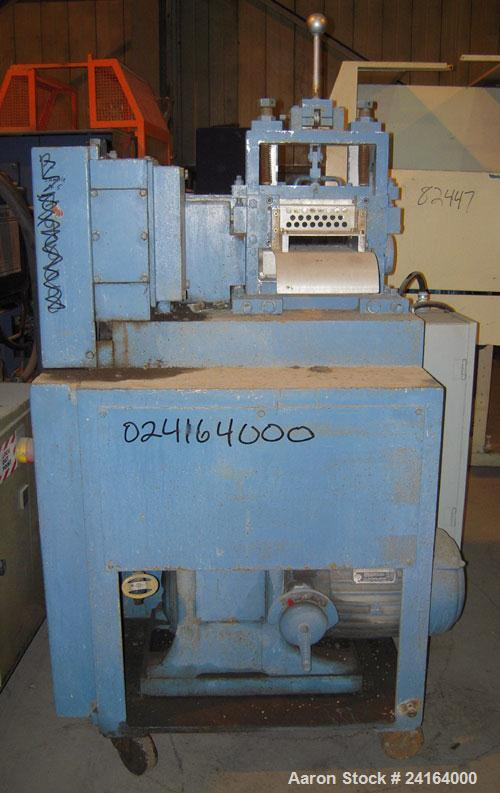 """Used- Cumberland Size 6 Pelletizer. 6-1/2"""" wide x 8"""" diameter (8) bolt on blade rotor, (1) rubber, (1) metal manually adjust..."""