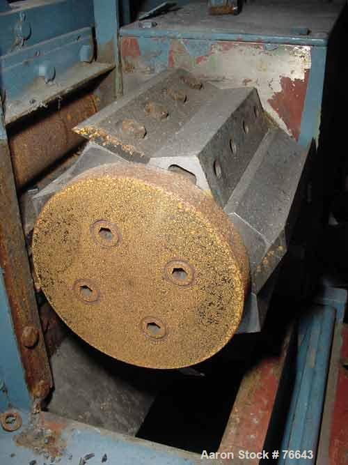 """USED: Cumberland size 6 pelletizer. 8"""" diameter x 6"""" wide 4 bolt on knife rotor. 2 manually adjustable metal pull rolls. Bot..."""
