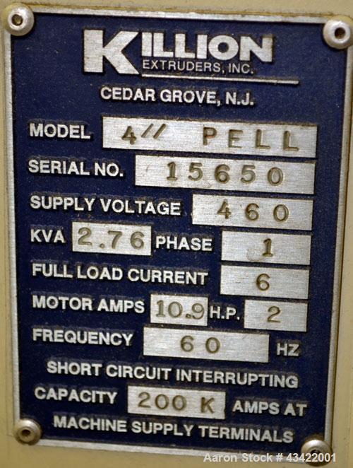 "Used- Killian Strand Pelletizer, Model 4"" Pell. Approximate 4"" diameter x 4"" wide 20 blade helical rotor. (1) Rubber, (1) me..."